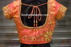 Beautiful blouse for kanjeevaram sarees embellished with zardosi work, stones… Wedding Saree Blouse Designs, Pattu Saree Blouse Designs, Fancy Blouse Designs, Blouse Neck Designs, Blouse Patterns, Wedding Sarees, Wedding Blouses, Sleeve Designs, Zardosi Work Blouse