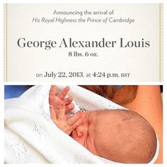 Prince George Alexander Louis..official announcement cards sent out by Kate and Will