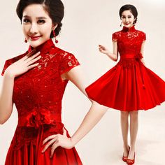 A-Line Lace High Collar Hot New Arrival Chinese traditional red flower Short design Cheongsam fashion lace flower evening dress women Cheong. Designer Bridesmaid Dresses, Bridal Dresses, Prom Dresses, Summer Dresses, Formal Dresses, Baby Dresses, Cheap Evening Dresses, Evening Gowns, Best Dress Shops