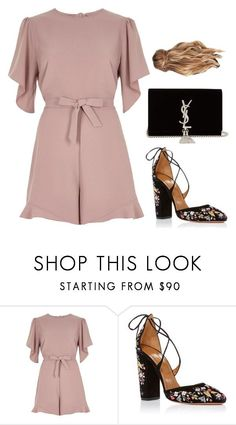 """Sans titre #2393"" by frenchystyle ❤ liked on Polyvore featuring River Island, Aquazzura and Yves Saint Laurent #trendymoda"