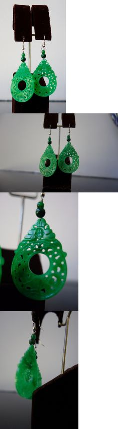 Earrings 110645: Gorgeous Large Hand-Crafted Green Jadeite Jade Carved Earrings Sterling Silver -> BUY IT NOW ONLY: $46 on eBay!