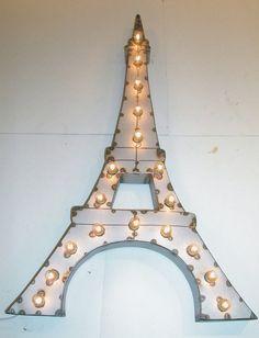 Vintage Industrial Eiffel Tower Metal Sign