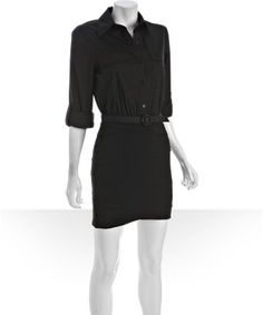 Alice & Olivia : black cotton wool 'Marshall' belted shirt dress : style # 315415501