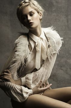 Angel Rutledge | stunning fashion editorial | unfortunately a little too thin for my liking, but beautiful design nonetheless | chiffon | feathers | neutral | natural | cream | feathers
