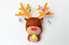 PDF Pattern  Felt Reindeer Christmas Ornament by typingwithtea