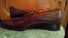 Kroll Loafers Dark Brown Leather Heels Italy sz 37.5 EU 7.5 US