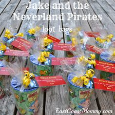 Jake and the Neverland Pirates Party Loot Bags... with free printable tags.