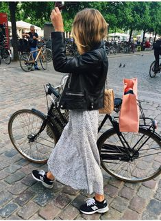 maxi skirt + sneakers + leather jacket