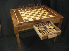 Chess Table made from walnut, maple, and pear woods.