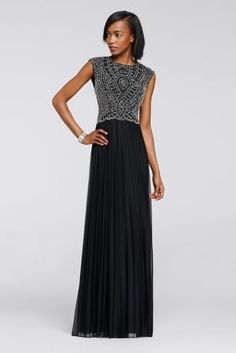 15e513047d The sweet beaded bodice on this effortlessly wearable chiffon dress  juxtaposes beautifully with the long and flowing skirt. By Cachet Chiffon  Zipper Back  ...