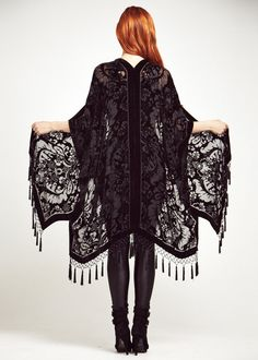 Velvet Fringe Kimono Black Magic by shevamps on Etsy