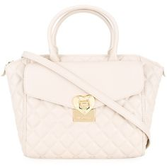 Love Moschino quilted tote (£125) ❤ liked on Polyvore featuring bags, handbags, tote bags, beige, beige tote bag, tote handbags, pink tote handbags, pink purse and beige handbags