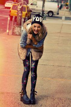 Fall Winter 2014 #Todomoda #BrooklynWinter ▶ #NYC #Beanie + Cool Cat Leggings . Model: Paige Reifler, New York Models.