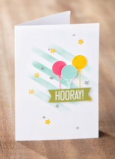We just love the new Hooray It's Your Day stamp set used to make this fun birthday card!