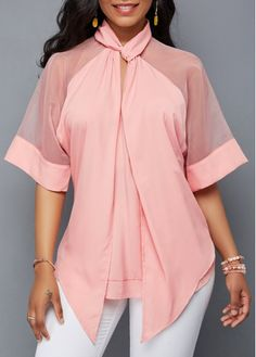Pink Asymmetric Hem Mesh Patchwork Blouse | Rosewe.com - USD $31.86