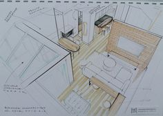 Living room sketch with a concept of winter garden by Magdalena Sobula _ Pe2