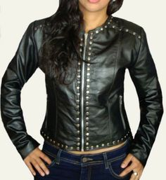 Ladies Leather Jacket Studded Without Collar Color Black Size XS-3XL