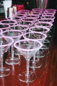 Pink Bridal Shower... love the pink sugared glasses