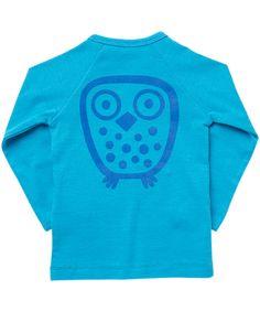Ej Sikke Lej turquoise basis t-shirt met lange mouwen en uilenprint #emilea