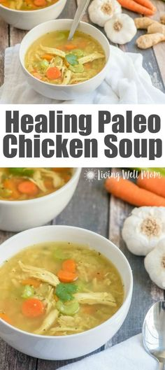 This easy-to-make homemade Paleo Chicken Soup recipe is gluten-free, grain-free, and dairy-free, and delicious! This paleo soup is friendly as well. Paleo Chicken Soup, Paleo Soup, Chicken Soup For Colds, Recipe Chicken, Whole Chicken Soup, Paleo Chicken Recipes, Fried Chicken, Cooking Recipes, Dinner Ideas