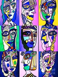 Sparkle art projects for kids | Love the play of Picasso's Blue Period and Woman…