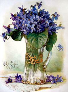 by Paul De Longpre (artist) Vintage Birds, Vintage Flowers, Vintage Postcards, Watercolor Flowers, Watercolor Paintings, Flower Cart, Sweet Violets, Rose Pictures, Vase