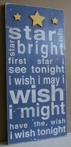 star light star bright - cute nursery art made from wood, stencils, and spray paint.