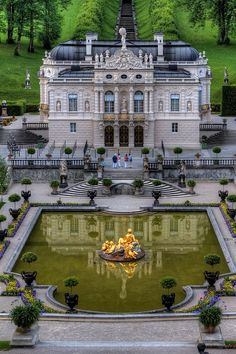 Linderhof Palace (German: Schloss Linderhof) is in Germany, in southwest Bavaria near Ettal Abbey. It is the smallest of the three palaces built by King Ludwig II of Bavaria and the only one which he lived to see completed.
