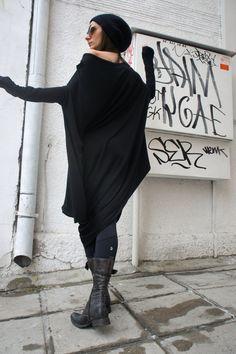 Oversize Black Loose Casual Top / Asymmetric Raglan Long Sleeveless Tunic One Size / Maxi Blouse via Etsy