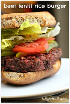Beet Lentil Rice Burger - Plant-Based Nutritarian Weight Loss Recipe Blog