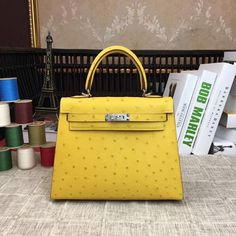 dbed673aa2 Hermes Original Ostrich Leather Kelly 25cm 28cm Yellow. Hermes Kelly 25Designer  PursesBag ...