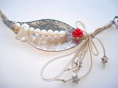 Buy Handmade Jewelry-German Silver Pendant-Fresh Water Pearls-Wax Cord-Sliding Knots-Hammered-Leaf Pendant-Wrapped Cord-Rose-Contemporary Jewel by annarecycle. Explore more products on http://annarecycle.etsy.com