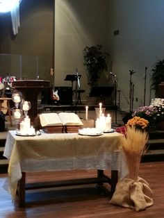CUMC Altar for All Saints Day Church Altar Decorations, Table Decorations, Reformation Sunday, Alter Decor, Altar Design, Celebrate Recovery, All Souls Day, Saints And Sinners, All Saints Day