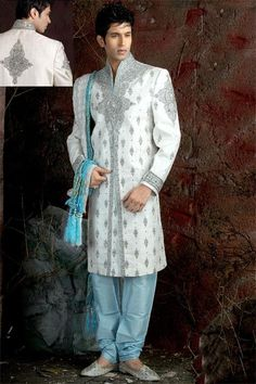 **LIKE THIS, but in more blue, rather than aqua** Another off-white Sherwani with aqua accents --$290. This and others like it would be perfect - esp if it had richer/deeper blue details (vs. aqua)