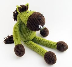 Grinhorse - grinning horse - crochet animal - amigurumi toy. via Etsy.