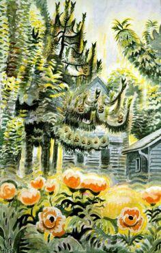 Pine Tree And Oriental Poppies - Charles Burchfield