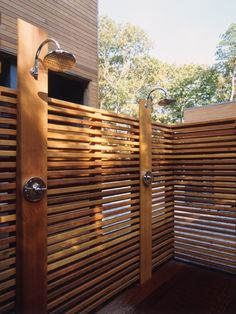 Two heads are better than one! No longer just for the beach house, #outdoor showers are a relaxing and practical way to wash the day away. We love the idea of using multiple heads for maximum showering. No more shower schedule, throw all the kids in at once! Found on houzz.com