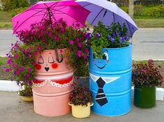 Colorful Painting Ideas to Recycle Metal Barrels and Tin Cans for Beautiful Yard Decorations