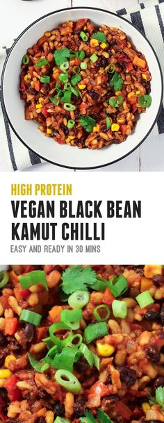 High Protein Vegan Black Bean and Kamut Chilli Recipe. Easy to make and ready to serve in 30 minutes. Great as a post-workout meal!