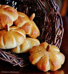 Pumpkin-shaped rolls from Thistlewood Farms featured in Gooseberry Patch roll slideshow