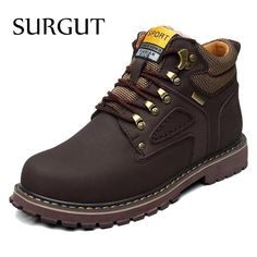 SURGUT Brand Super Warm Men's Winter Leather Men Waterproof Rubber Snow Boots Leisure Boots England Retro Shoes For Men Big Size  #sunshades #bags #love #belts #accessories #sale #wallets #sexyshoes #wedding #style #gloves #followme #mensfashion #money #fashionweek