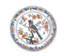 Vintage Royal Tichelaar Makkum 902 oiseau Polychrome Floral Scroll Motif chargeur plaque murale néerlandais Delft Pottery