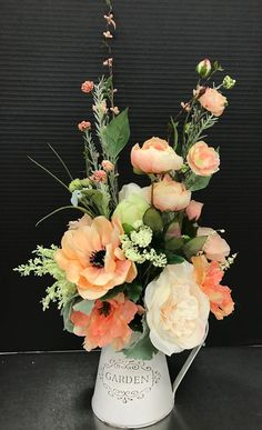 Wedding Flower Arrangements Spring Peaches in Pitcher by Andrea - Silk Floral Arrangements, Beautiful Flower Arrangements, Floral Centerpieces, Beautiful Flowers, Summer Flower Arrangements, Table Centerpieces, Wedding Centerpieces, Deco Floral, Arte Floral