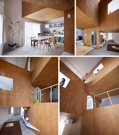 """House made with plywood """"boxes"""" that cordon off various rooms."""