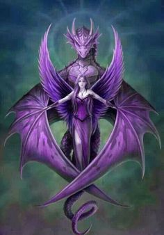 Lilac dragon and faery rider - NOT my art