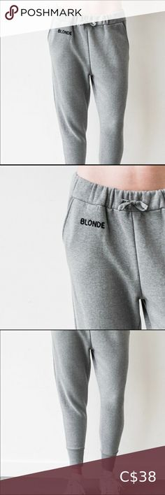 "😍 BRUNETTE THE LABEL 😍 joggers This middle sister jogger has a slight dropped crotch and is the perfect balance fashion and comfort. With a slight cropped bottom, they can fit all body types. The great little detail is the chain-stitched ""BLONNDE"" on the hip.   These are super soft and comfy.  This is a Vancouver brand.   Size S/M. Roomy fit. Would fit anyone sized 2-6. brunette the label Pants Track Pants & Joggers Drop Crotch, Chain Stitch, Body Types, Vancouver, Joggers, Gray Color, Pants For Women, Track, Label"