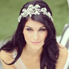 Model Wearing our Swarovski Crystal and Mother of Pearl Headpiece