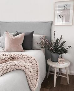 Pale Blush Pink and Shades of Gray