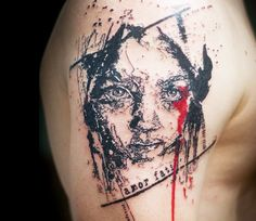 Abstract Face Tattoo by Paul Talbot | Tattoo No. 13309