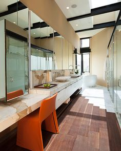 Bathroom with in-ceiling speakers | Two Houses, Both Alike | CEDIA Integrated Home Design Ideas | More at http://www.cedia.org/inspiration-gallery/two-houses-both-alike